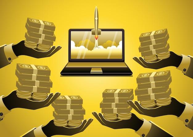 Ein illustrationsgeschäftsprojektstart und geldfinanzierungstechnologie