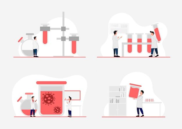 Ein illustriertes konzept von forschungslabors, wissenschaftlern, die in labors arbeiten