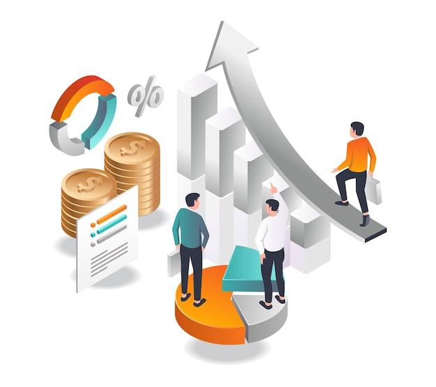 Ein investor geht in isometrischer illustration zum erfolg