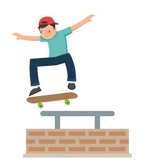 Ein junge, der auf sein skateboard springt