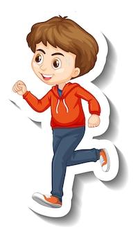 Ein junge, der cartoon-charakter-aufkleber joggt