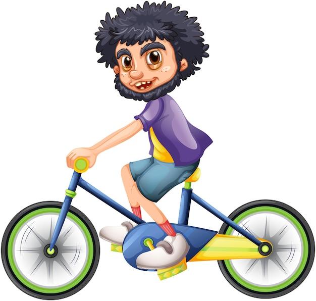 Ein junge, der eine fahrradkarikaturfigur lokalisiert auf weißem hintergrund reitet