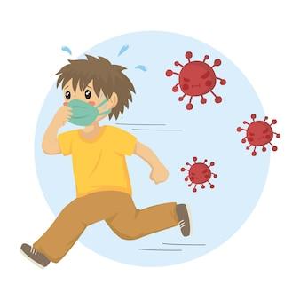 Ein junge, der eine gesichtsmaske trägt, die von gefährlichen roten viren, karikatur läuft