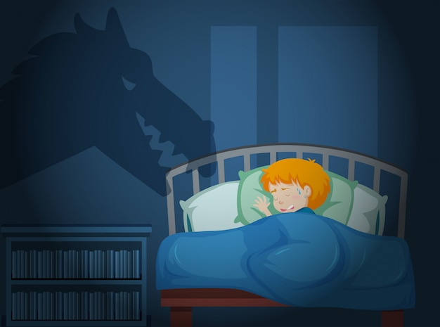 Ein junge, der eine nacht hat