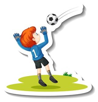 Ein junge, der fußball-cartoon-charakter-aufkleber spielt Premium Vektoren