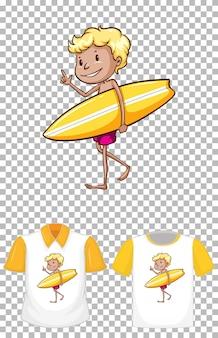 Ein junge, der gelbe surfbrettkarikaturcharakterentwurf für t-shirt lokalisiert hält