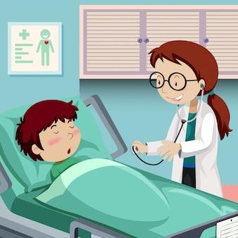 Ein junge, der im krankenhaus stillsteht