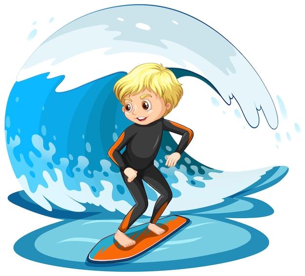 Ein junge, der isoliert auf einer wasserwelle surft