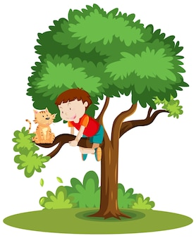 Ein junge, der klettert, um einer katze zu helfen, die auf dem baumkarikatur lokalisiert ist