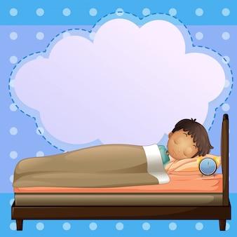 Ein junge, der mit einem leeren hinweis ruhig schläft