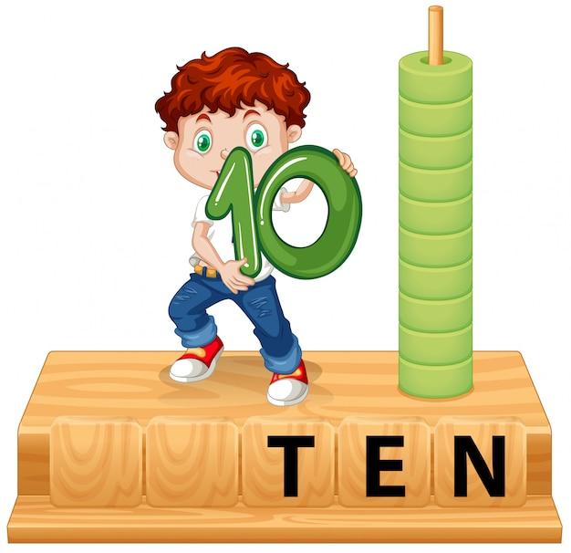 Ein junge, der nummer zehn hat