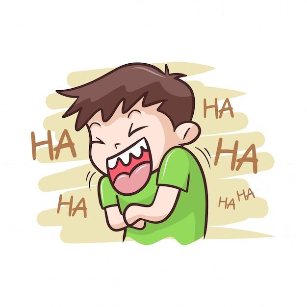 Ein junge, der sehr glückliche abbildung lacht