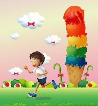 Ein junge in einem land voller süßigkeiten