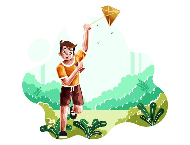 Ein junge lässt das fliegen einer drachenillustration laufen