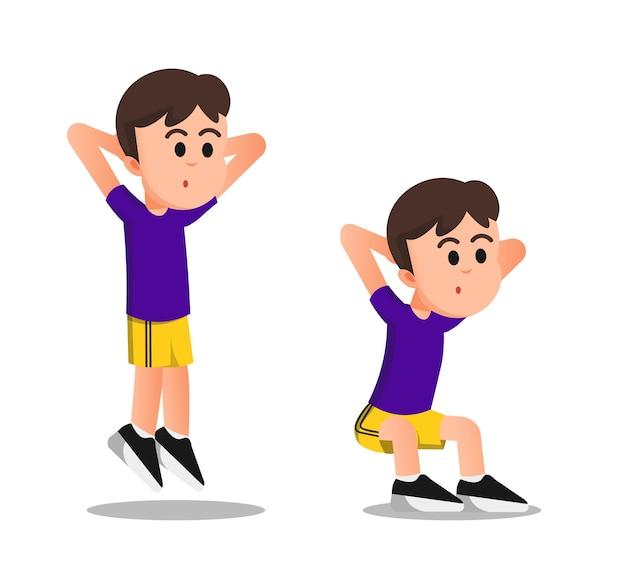 Ein junge macht einen kniebeugensprung