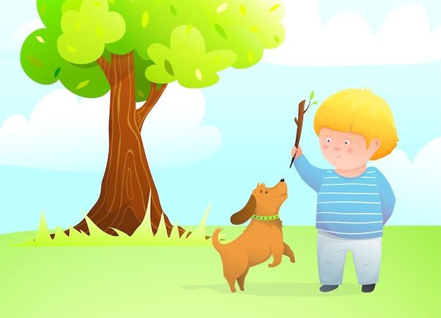 Ein junge mit springendem hundefreund, der draußen wurfstock für welpen auf rasen unter der eiche spielt.