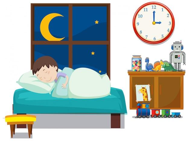 Ein junge schläft im schlafzimmer