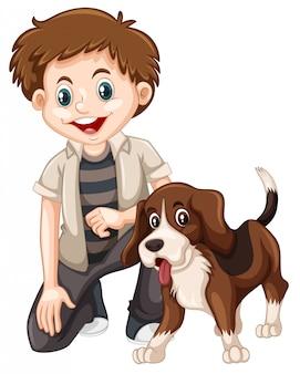 Ein junge und ein hund