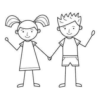 Ein junge und ein mädchen halten händchen. süße charaktere. eine lineare zeichnung von hand. schwarz-weiß-abbildung