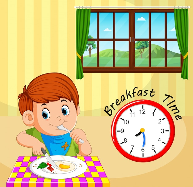 Ein junge zum frühstück