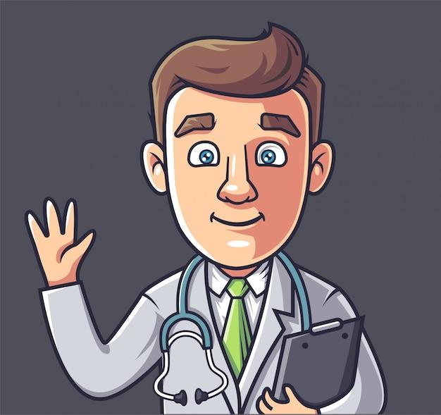 Ein junger doktor, der seine hand wellenartig bewegt und eine tablette hält