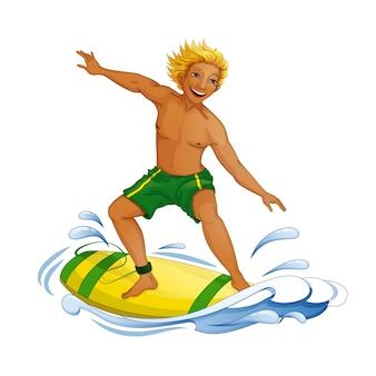 Ein junger mann auf einem surfbrett auf der welle.