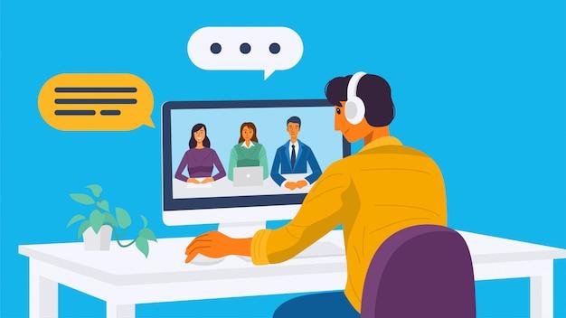 Ein junger mann, der eine videokonferenz mit seinen kollegen hat. illustration