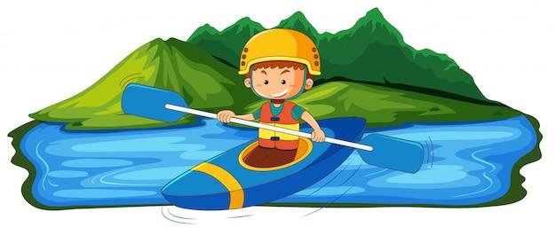 Ein junger mann, der im see kanu fährt