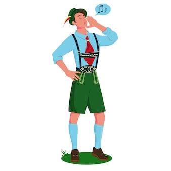 Ein junger mann, der in bayerischer tracht einen jodler singt.