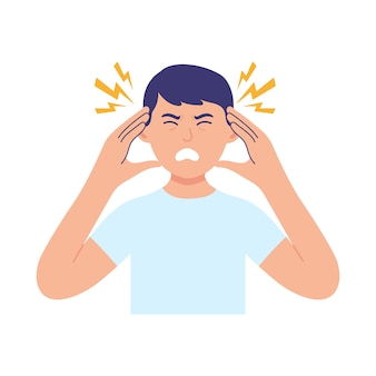 Ein junger mann hält seinen kopf wegen krankheit oder stress