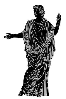 Ein junger mann in einer antiken griechischen tunika mit einer papyrusrolle in der hand liest ein gedicht und gesten. schwarze figur lokalisiert auf weißem hintergrund.