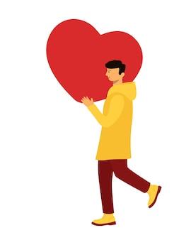 Ein junger mann in einer gelben jacke trägt ein riesiges herz auf seiner schulter. vektor