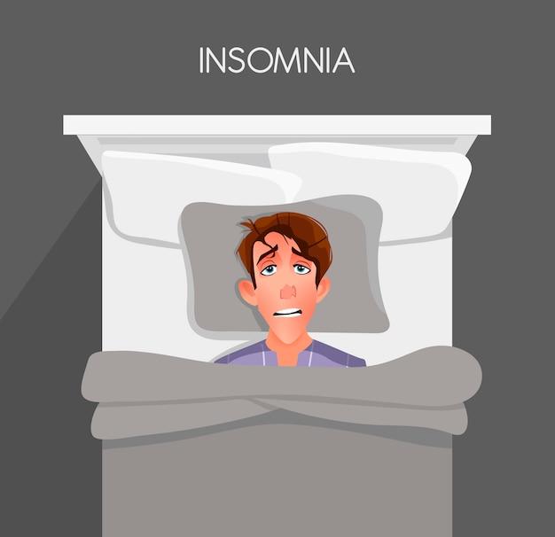 Ein junger mann kann nicht einschlafen. schlaflosigkeit.
