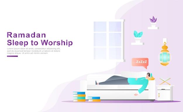 Ein junger mann schläft als anbetung gut, nachdem er den koran gelesen hat Premium Vektoren
