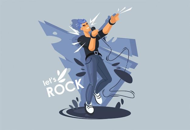 Ein junger mann singt auf der bühne, ein rockstar. rockmusiker in einer dynamischen pose.