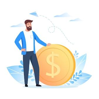 Ein junger mann steht in der nähe einer dollarmünze. geld verdienen, sparen und investieren