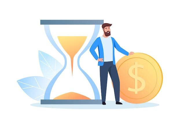Ein junger mann steht in der nähe einer dollarmünze und verdient, spart und investiert geld