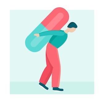 Ein junger mann trägt eine große pille auf dem rücken. konzept der langfristigen und dauerhaften medizinischen behandlung, onkologie, diabetes. die person ist krank und schwach. flache vektorgrafik.