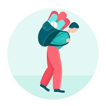 Ein junger mann trägt einen schweren rucksack mit pillen. konzept der langfristigen und dauerhaften medizinischen behandlung, onkologie, diabetes. die person ist krank und schwach. flache vektorgrafik.