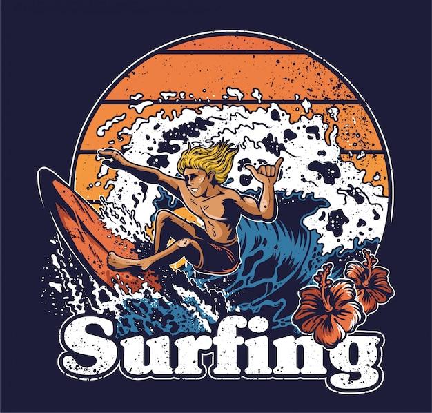 Ein junger mann verrückter extremer surfer, der auf großer ozeanwelle reitet