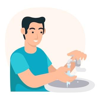 Ein junger vater putzt zwischen seinen fingern, um sich vor dem covid-19-virus zu schützen