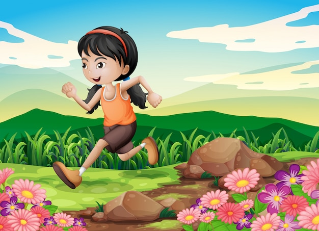 Ein junges mädchen rannte hastig