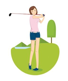 Ein junges mädchen schlug den golfball im golfplatz
