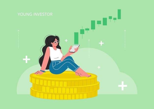 Ein junges mädchen sitzt auf münzen und sieht zu, wie der wechselkurs steigt