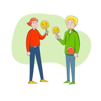 Ein junges paar hält masken mit positiven emotionen. sie sind es leid, dass ständig eine rolle gespielt werden muss, die maske wechseln.