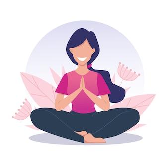 Ein junges und glückliches mädchen praktiziert yoga und meditiert. lotus position, padmasana. vektorillustration
