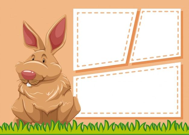 Ein kaninchen auf leere notiz
