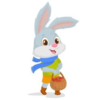Ein kaninchen, das einen korb mit äpfeln trägt
