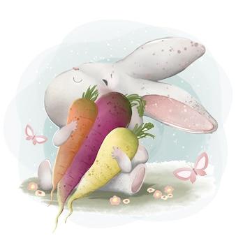 Ein kaninchen, das seine karotten liebt