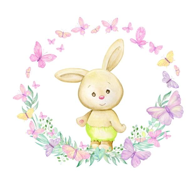 Ein kaninchen steht umgeben von schmetterlingen und pflanzen. runder aquarellrahmen auf lokalisiertem hintergrund, im karikaturstil.